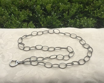Antique Silver Chain ID Badge Lanyard Twisted Links Chain Lanyard