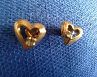 Pair of Vintage Avon New in Box Heart Sparks Goldtone Pierced Earrings