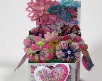 Pink and Blue 3D Pop Up Flower Garden Box All Occasion Card
