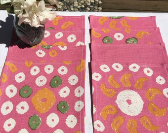 Napkins#1585, Bright Pink Napkins, Pink Party Napkins, Small Napkin Set, Set of 8 Napkins, Small Napkins, Napkins, Cotton Napkins, Party