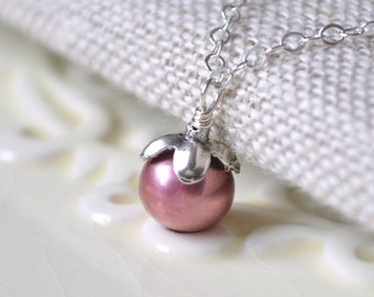 Pearl Flower Girl Necklace, Real Freshwater Pearl, Child Teen Women, Dark Rose Pink, Sterling Silver Jewelry