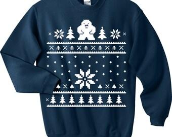 YETI Ugly Christmas Sweater - Abonimable Snowman Sweatshirt - Unisex Sizes S, M, L, XL
