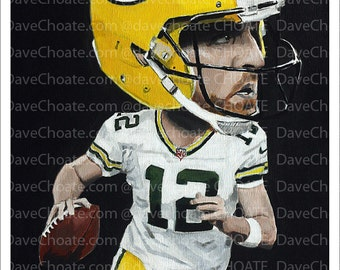 Aaron Rodgers, Green Bay Packers Art Print.