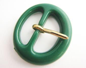 Small green buckle, plastic belt buckle in emerald green, for 23 mm belts, unused!