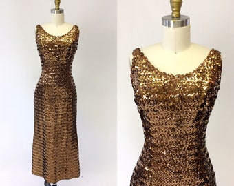 1960s Copper Sequin Wiggle Dress