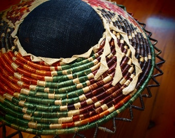 Multi-coloured Straw Brimmed Hat