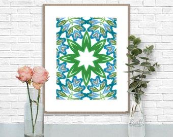 Bali Blues 1 Digital Print • Kaleidoscope Mandala Bright Island Pattern • Instant Download • Home Decor Wall Art • Printable Poster Artwork
