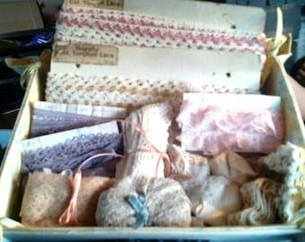 Sale-Handmade Box of Vintage Laces