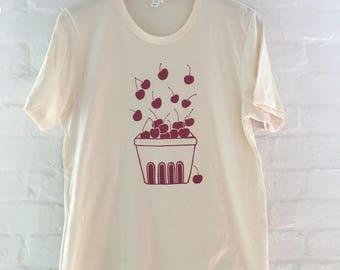Cherry Shirt, Fruit Shirt, Food Shirt, Screen Printed T Shirt, Soft Style Tee