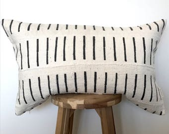 15 x 24 Black and White African Mudcloth Pillowcase