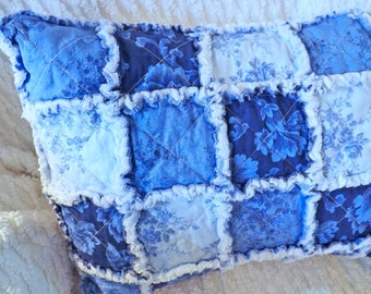 Rag Quilt Travel Pillow - Small Pillow - Blue and White Pillow - Floral Travel Pillow - Pillow Sham with Insert