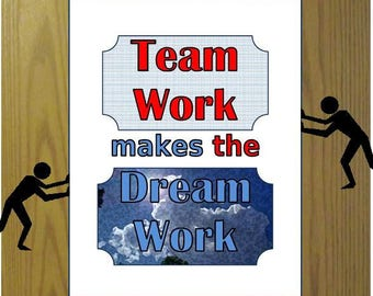 Business quote print Teamwork printable Leadership instant download Workplace art, Teamwork makes the Dream work saying, Workplace motto art