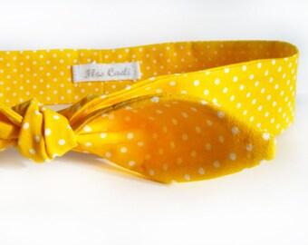Yellow Polka Dot Headband - Cotton Fabric Headband - Retro Style Headwrap