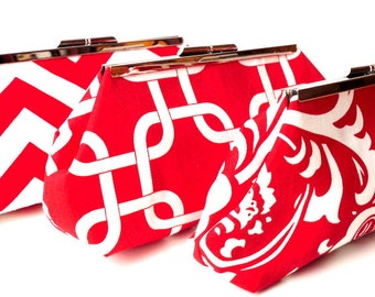 Red Bridesmaid Clutch Set