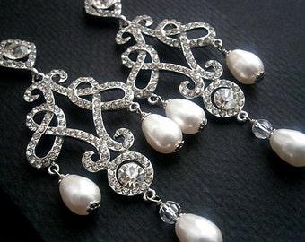 Mariage cristal perle boucles d'oreilles grand lustre Vintage mariages classique volutes blanches perles et cristaux boucles d'oreilles mariées vente