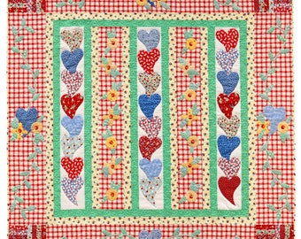FROM The HEART Quilt Pattern Throw Lap Wall Child Simple Pleasures Patchwork Applique' RARE!