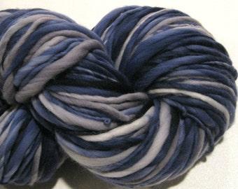 Bulky Handspun Yarn Clouds At Midnight 142 yards hand dyed wool navy grey gray waldorf doll hair knitting supplies crochet supplies