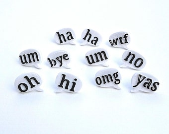 Mix and Match 3D printed Speech Bubble Studs / omg / wtf / yas