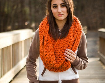Circle Scarf Infinity Scarf Crocheted Cowl Chunky Scarf - Oversized Cowl in Pumpkin Orange Cowl - Orange Scarf Womens Accessories