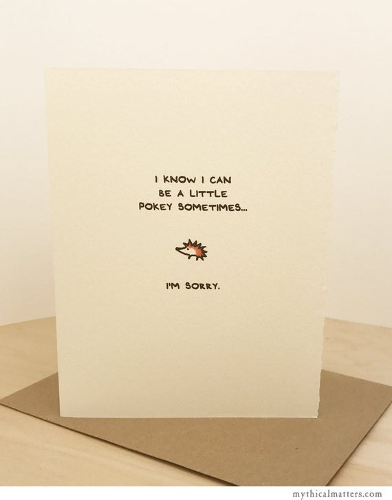 I'm Sorry Card Hedgehog Greeting Card Cute Adorable paper made in Canada Toronto apology cute pokey animal enfrancais