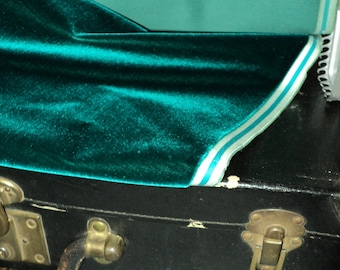 "Antique Victorian Silk Velvet Fabric Yardage Made in France 1890s ""Teal Green"""
