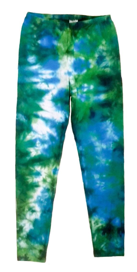 Girls Tie Dye Leggings/Youth Leggings/Crumple Effect in Blue & Green/Gifts for Kids/Eco-Friendly Dying