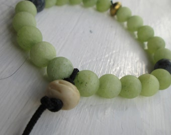 Gemstone Mala Style stretch bracelet in soft Greens and Blues for Men or Women