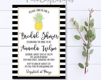 Pineapple Bridal Shower Invitation, Pineapple Invitation, Gold Pineapple Invite, Tropical Shower Invite, Gold Pineapple Invitation