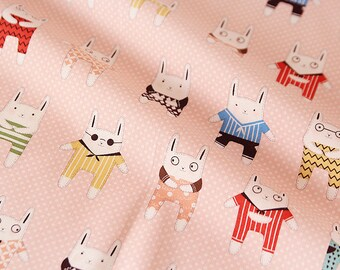 Rabbit Story with Polka Dots - Cotton Fabric - Peach Pink - By the Yard 52192