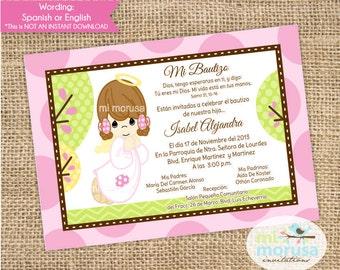 Girl Angel,  Baptism, Christening, Invitation, printable
