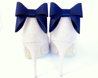 Navy blue bows - shoe clips Manuu,  bow shoe clips, shoe bows, Schuhclips, shoe clips for pumps