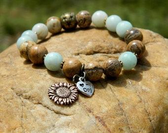 RESERVED  Gemstone Bead Boho Stretch Bracelet