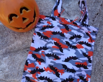 Camo Bats Cotton Fabric Reuseable Halloween Candy Tote Bag