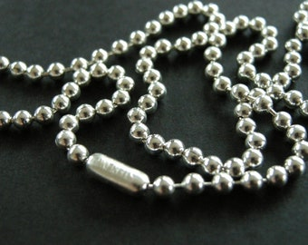sterling silver 3mm ball chain, unisex necklace.925 chain ball chain, men, women