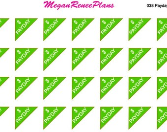 Payday corner matte planner stickers for the Erin Condren Life Planner 28 per sheet