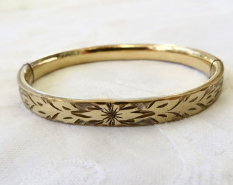 Antique Bangle Bracelet, Art Nouveau Bangle Gold Filled  Antique Jewelry, Vintage Gold Filled Jewelry
