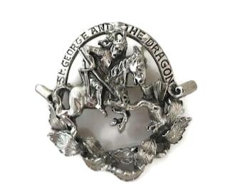 St. George and Dragon Brooch, Vintage Pendant Brooch, Signed JEANNE Pendant Brooch, Silvertone Pendant