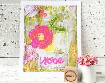 Rose Mixed Media Art Print - 2 sizes available