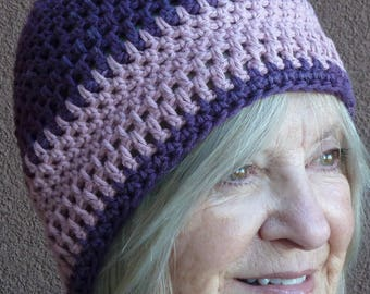Chemo cap / original cotton beanie in purple and pink / 100% cotton yarn / free shipping in USA  / great nurse cap / soft crochet hat
