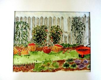 Original Garden Watercolor Painting
