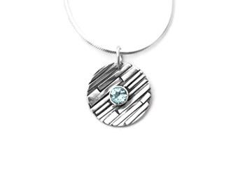 Aquamarine Sterling Silver Pendant Necklace, March Birthstone Necklace, March Birthstone, Aquamarine Necklace, Aquamarine Pendant