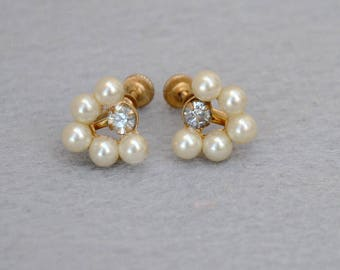 Faux Pearl and Rhinestone Earrings Vintage