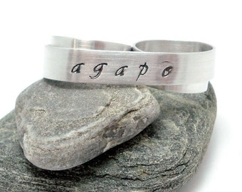 Agape Two Finger Ring - Custom Stamped Double Ring - Silver