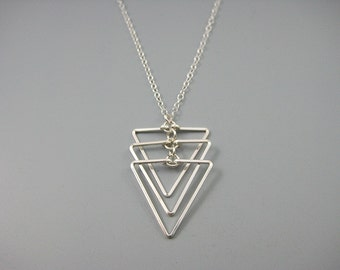 Triangle Necklace - silver geometric necklace, architecture jewelry, 3 sisters necklace - Cascading