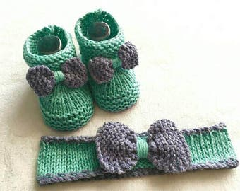 Matching headband and booties set / baby girl / 0-6 months / loop/knitting/green/purple