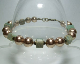 Pearls and Brass Bracelet. Bronze Pearls and Impression Jasper. Tan and Blue Bracelet.