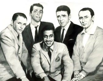 """Rat Pack, painting, poster, print, reproduction, pencil drawing by artist eugene,16""""x20"""",22.4""""x28"""""""