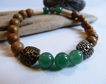 Mens bracelet, ethnic and Celtic green agate and Jasper wood