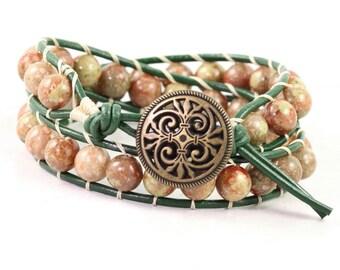 Green Leather Wrap Bracelet Hunter Light Orange Peach Bohemian Style Double Wrap Rustic Fall Fashion Boho Jewelry Leather Jewelry