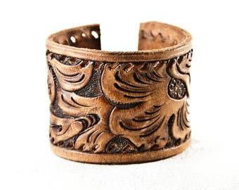 Leather Jewelry, Leather Cuff, Leather Bracelet, Tooled Leather, Vintage Leather, Brown Leather, Tan Leather